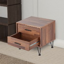 Benzara BM154627 Contemporary 2 Drawers Wood Nightstand By Deoss, Brown