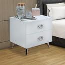 Benzara BM154629 Modern Style Wood & Metal Nightstand, White & Chrome