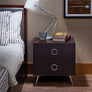 Benzara BM154630 Rectangular Wood & Metal Nightstand By Elms, Brown & Chrome