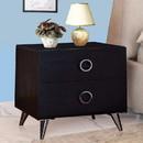 Benzara BM154631 Contemporary Style Wood & Metal Nightstand, Black & Chrome