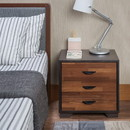 Benzara BM154632 Rectangular 3 Drawers Wood Nightstand, Brown