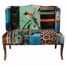 Benzara BM154764 Bird Collage Print Settee, Multicolor