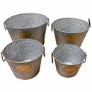 Benzara BM155223 Old-Style Metal tub With Handle, Copper, Set Of 4