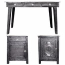 Benzara BM155317 3 Piece Of Traditional Style Wooden Console Table with Desk, Gray
