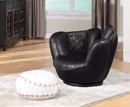 Benzara BM155366 All Star 2 Piece Pack Chair & Ottoman, Baseball Black and White