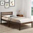 Benzara BM155990 Simply Design Twin Bed With Wooden Slatted Headboard, Brown