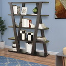 Benzara BM156248 Exceptional Bookcase with Inverted Supports and Open Shelves, Brown
