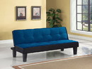 Benzara BM156365 Flannel Fabric Adjustable Sofa, Blue