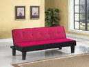 Benzara BM156366 Flannel Fabric Adjustable Sofa, Pink