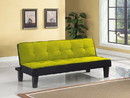 Benzara BM156367 Adjustable Fabric Upholstered Tufted Sofa with Wooden Legs, Green and Black