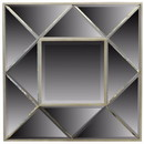 Benzara BM156648 Sophisticated Square Wooden Framed Mirror, Gray