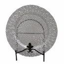 Benzara BM156691 Appealing Glass Charger Plate With Engraved Pattern, Clear