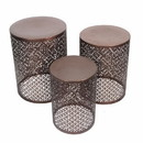 Benzara BM156733 Stylish 3 Piece Round Stools With Cutouts Pattern, Copper
