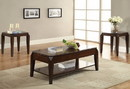 Benzara BM156765 Wooden Coffee Table with Lift Top and Open Bottom Shelf, Brown