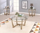 Benzara BM156776 Attractive Coffee Table, Gold & Clear Glass