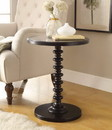 Benzara BM157293 Round Top Wooden Side Table with Turned Frame, Black