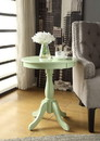 Benzara BM157300 Astonishing Side Table With Round Top, Light Green