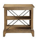 Benzara BM157310 Wooden Side Table With 2 Compartments, Oak Brown
