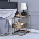 Benzara BM157311 Stylish Nesting Tables Set, Clear Glass & Brass, 2 Piece Pack