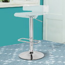 Benzara BM157348 Smart Looking Adjustable Stool with Swivel, Clear & Chrome