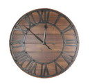 Benzara BM157534 BEAUTIFUL METAL AND WOOD WALL CLOCK, BLACK AND BROWN