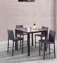 Benzara BM157888 5-Piece Counter Height Dinette, Black/Brown