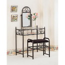 Benzara BM158046 Casual 2 Piece Metal Vanity Set With Stool with Fabric Seat, Black