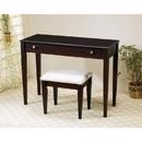 Benzara BM158124 Contemporary 2 Piece Flip Top Vanity and Stool with Fabric Seat, Brown