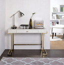 Benzara BM158764 Mirror Top Writing Desk, White & Gold