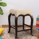 Benzara BM158795 Wooden Counter Height Stool, Cream Fabric & Espresso Brown