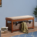 Benzara BM158797 Wooden Bench With Storage, Light Brown & Walnut