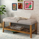 Benzara BM158808 Wooden Bench, Light Gray & Oak