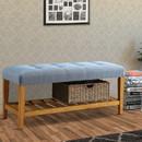Benzara BM158810 Wooden Bench, Blue & Oak