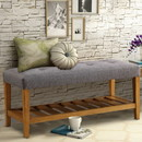 Benzara BM158811 Wooden Bench, Gray & Oak