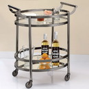 Benzara BM158856 Oval Metal Serving Cart, Clear Glass & Black Nickel