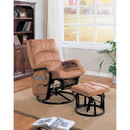 Benzara BM159030 Relaxing Glider Chair With Ottoman, Brown