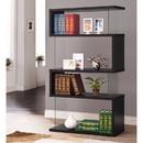 Benzara BM159055 Asymmetrical Snaking Wooden Bookcase, Black
