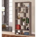 Benzara BM159067 Splendid Geometric Cubed Rectangular Bookcase, Gray