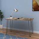 Benzara BM159111 Industrial Style Writing Desk With Hairpin Metal Legs, Brown
