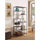 Benzara BM159122 Metal Framed Bookcase With Open Shelves, Black And Brown