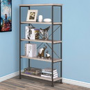 Benzara BM159171 Sophisticated Wood and Metal Open Bookcase, Gray