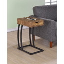 Benzara BM159254 Antique Accent Table with Storage Drawer and Outlet, Brown