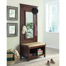 Benzara BM160076 Hall Tree With Storage Bench And Mirror, Brown