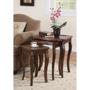 Benzara BM160101 Set Of 3 Wooden Nesting Tables With Curved Legs, Brown