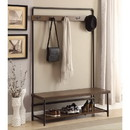 Benzara BM160141 Industrial Inspired Pipe Designed Hall Tree with Built in Bench, Brown and Bronze