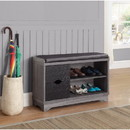 Benzara BM160276 Sophisticated Shoe Cabinet With Leatherette Seat, Black