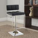 Benzara BM160763 Adjustable Contemporary Metal Bar Stool, Black & Silver