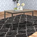 Benzara BM160786 Contemporary Metal Dining Table With Wooden Top, Gray & Black
