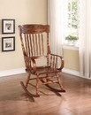 Benzara BM162978 Wooden Curved Back Rocking Chair with Rolled Arms and Spindles, Brown