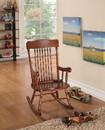 Benzara BM162982 Sober Wooden Rocking Chair, Tobacco Brown